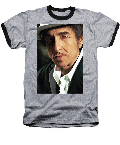 Bob Dylan Artwork Baseball T-Shirt by Sheraz A