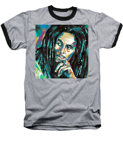 Bob Marley Watercolor Portrait.7 Baseball T-Shirt