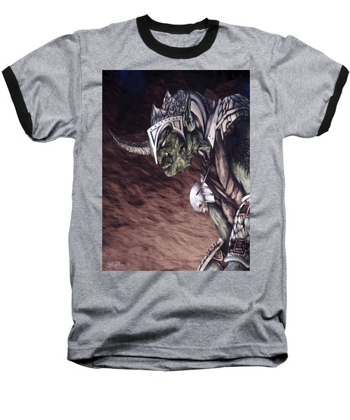 Baseball T-Shirt featuring the mixed media Bolg The Goblin King 2 by Curtiss Shaffer