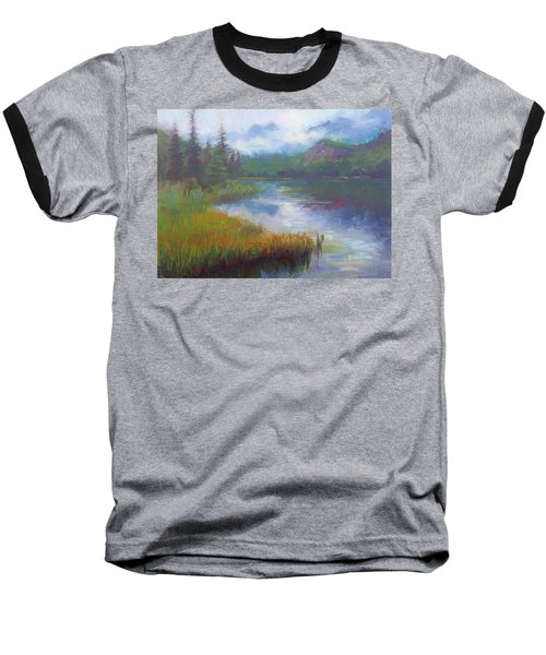 Bonnie Lake - Alaska Misty Landscape Baseball T-Shirt