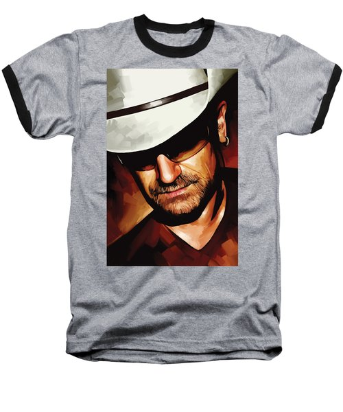 Bono U2 Artwork 3 Baseball T-Shirt by Sheraz A