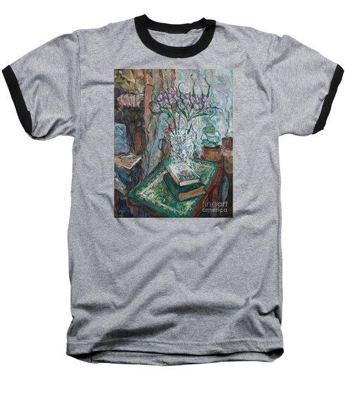 Books And Flowers Baseball T-Shirt by Anna Yurasovsky