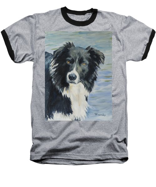 Border Collie Portrait Baseball T-Shirt
