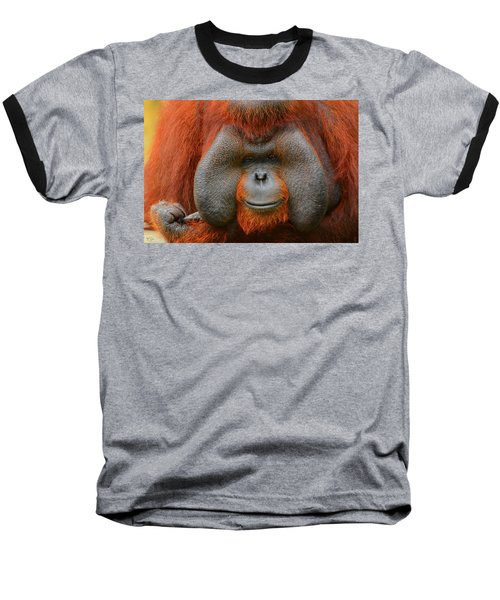 Bornean Orangutan Baseball T-Shirt by Lourry Legarde