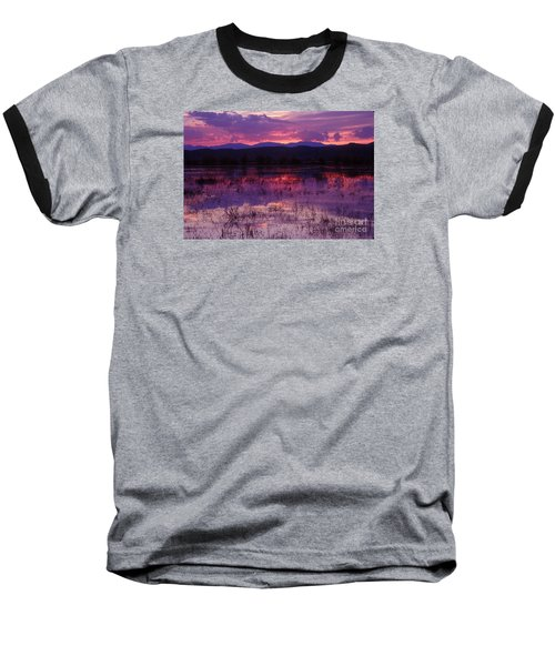 Bosque Sunset - Purple Baseball T-Shirt by Steven Ralser