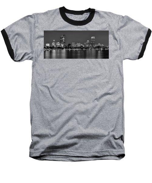 Boston Back Bay Skyline At Night Black And White Bw Panorama Baseball T-Shirt