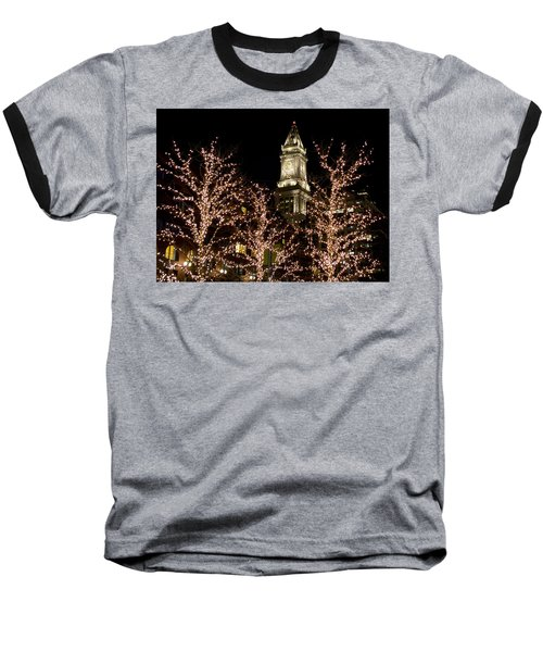 Boston Custom House With Christmas Lights Baseball T-Shirt