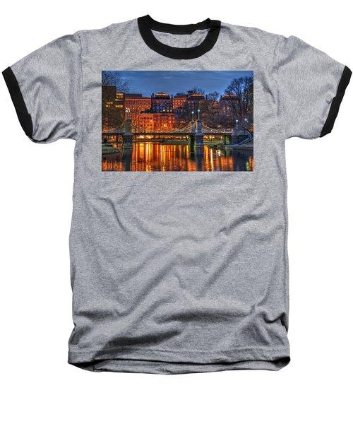 Boston Public Garden Lagoon Baseball T-Shirt by Joann Vitali