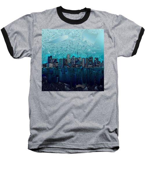Boston Skyline Abstract Blue Baseball T-Shirt
