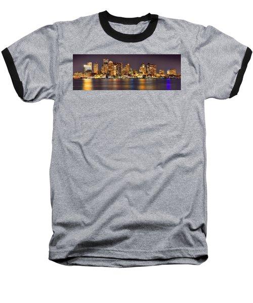 Boston Skyline At Night Panorama Baseball T-Shirt