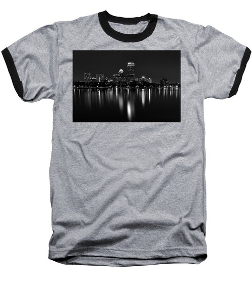Boston Skyline By Night - Black And White Baseball T-Shirt