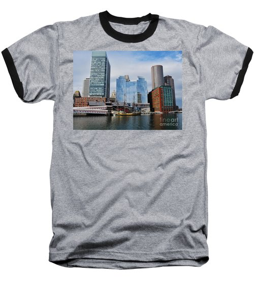 Boston Skyline I Baseball T-Shirt by Barbara Bardzik