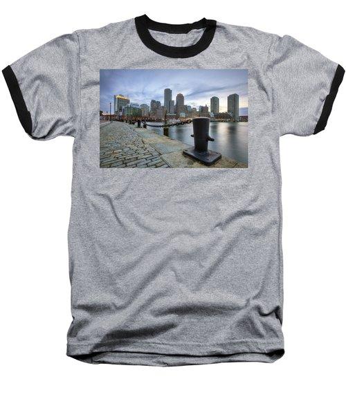Boston Skyline Sunset Baseball T-Shirt