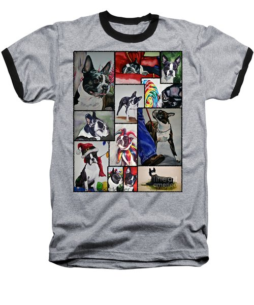 Boston Terrier Watercolor Collage Baseball T-Shirt