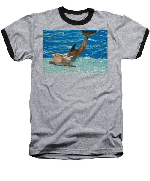 Bottlenose Dolphin Baseball T-Shirt by DejaVu Designs