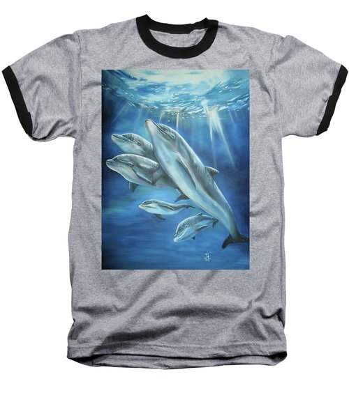 Bottlenose Dolphins Baseball T-Shirt by Thomas J Herring