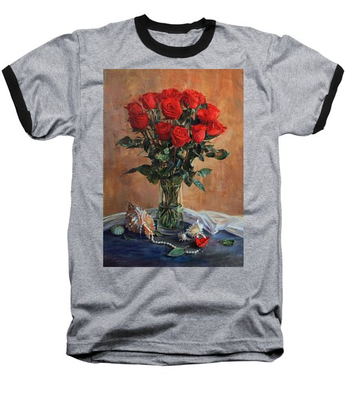 Bouquet Of Red Roses On The Birthday Baseball T-Shirt
