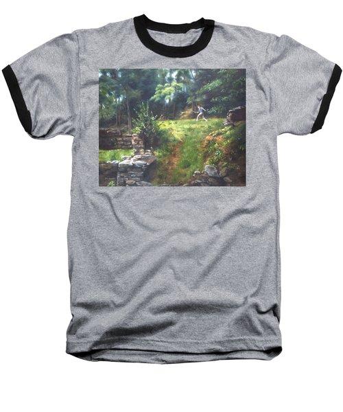 Baseball T-Shirt featuring the painting Bouts Of Fantasy by Lori Brackett