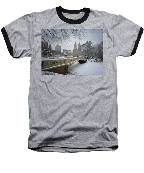 Bow Bridge Central Park In Winter  Baseball T-Shirt by Vivienne Gucwa