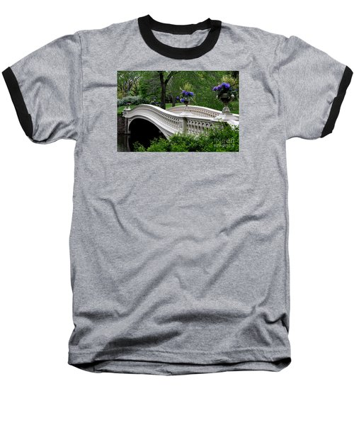 Bow Bridge Flower Pots - Central Park N Y C Baseball T-Shirt by Christiane Schulze Art And Photography