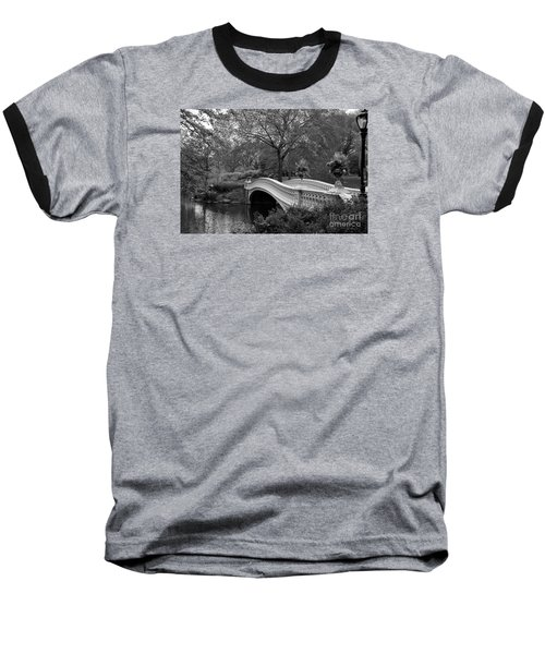 Bow Bridge Nyc In Black And White Baseball T-Shirt by Christiane Schulze Art And Photography