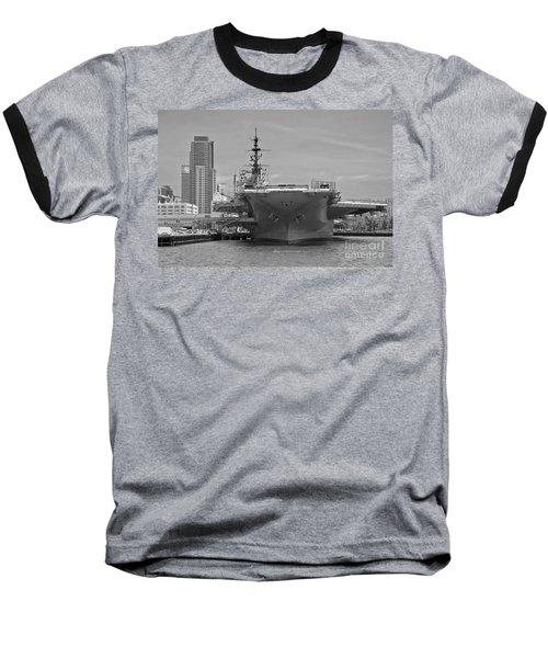Bow Of The Uss Midway Museum Cv 41 Aircraft Carrier - Black And White Baseball T-Shirt by Claudia Ellis