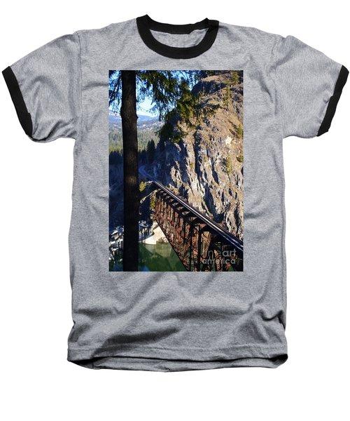 Box Canyon Dam Railroad Crossing Baseball T-Shirt by Loni Collins