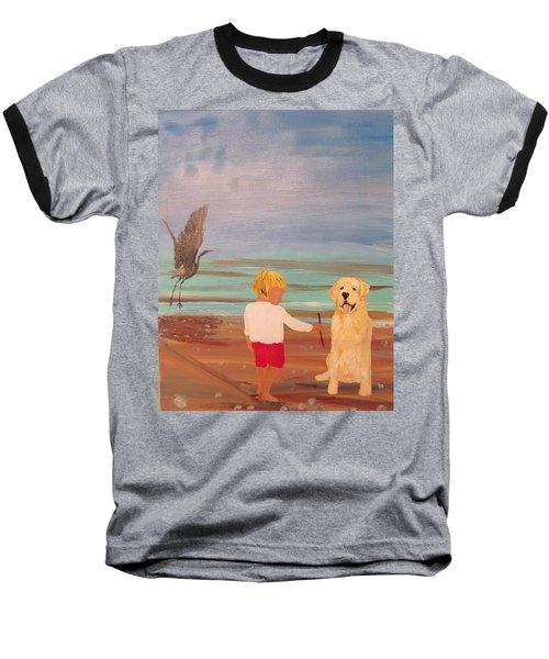 Boy And Dog Baseball T-Shirt