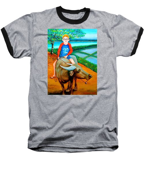 Boy Riding A Carabao Baseball T-Shirt