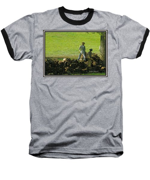 Baseball T-Shirt featuring the photograph Boys Will Be Boys by Kathy Barney
