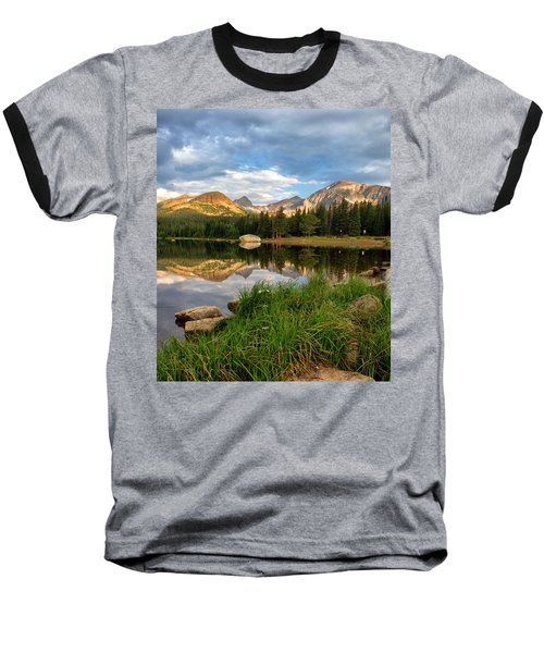 Brainard Lake Reflections Baseball T-Shirt by Ronda Kimbrow