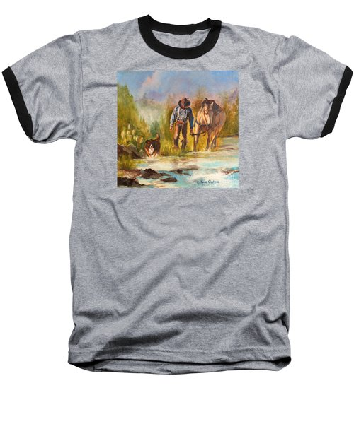 Baseball T-Shirt featuring the painting Break For The Ride by Karen Kennedy Chatham