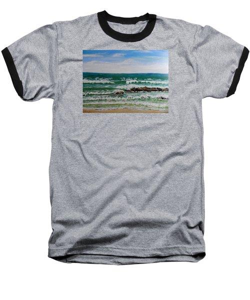 Breaking Waves Baseball T-Shirt by Pamela  Meredith