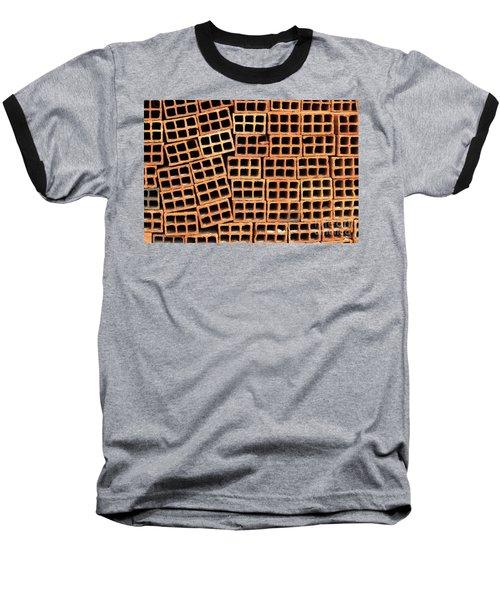 Brick Abstract Baseball T-Shirt by Vivian Christopher