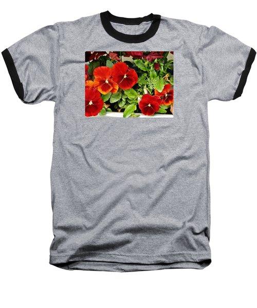 Baseball T-Shirt featuring the photograph Brick Pansies by VLee Watson