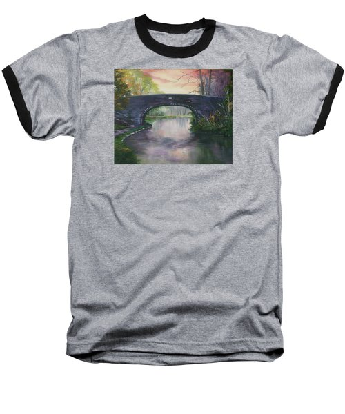 Baseball T-Shirt featuring the painting Bridge 91 At Fradley Canal Staffordshire Uk by Jean Walker