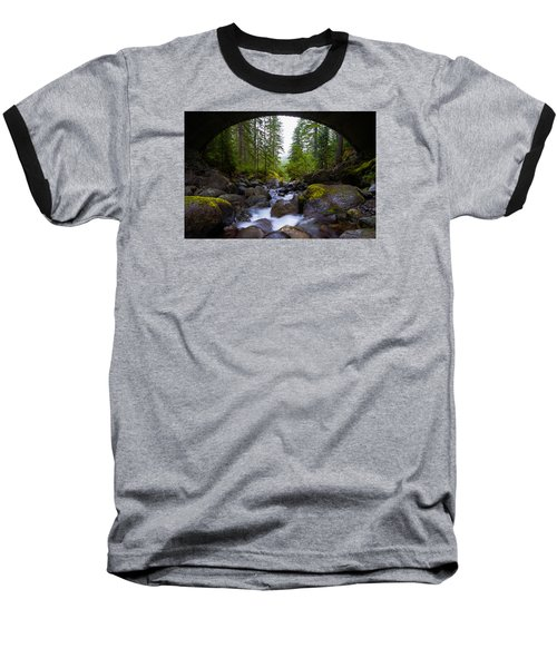 Bridge Below Rainier Baseball T-Shirt