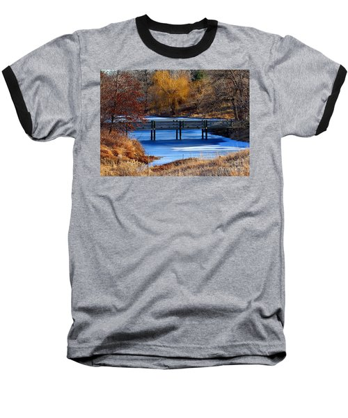 Baseball T-Shirt featuring the photograph Bridge Over Icy Waters by Elizabeth Winter