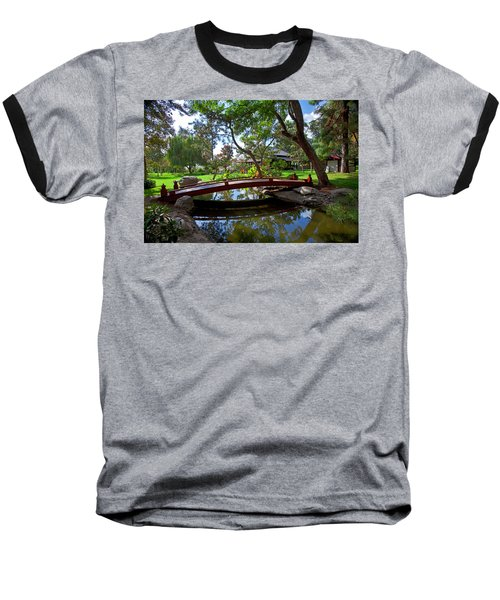 Baseball T-Shirt featuring the photograph Bridge Over Japanese Gardens Tea House by Jerry Cowart