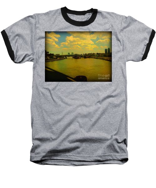 Bridge With Puffy Clouds Baseball T-Shirt by Miriam Danar