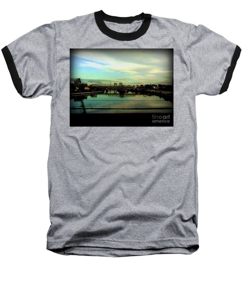 Bridge With White Clouds Baseball T-Shirt by Miriam Danar