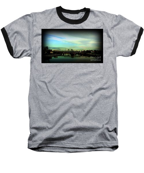 Bridge With White Clouds Vignette Baseball T-Shirt by Miriam Danar