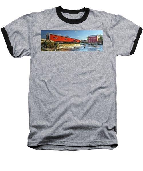 Bridgeton Bridge And Mill Baseball T-Shirt by Harold Rau