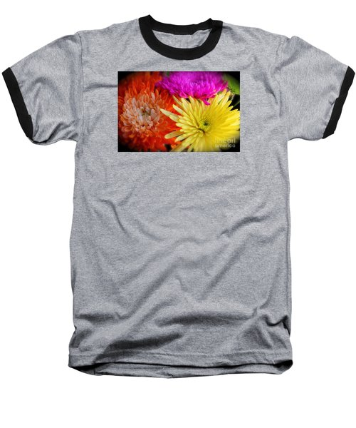 Bright Chrysanthemums Baseball T-Shirt by The Art of Alice Terrill