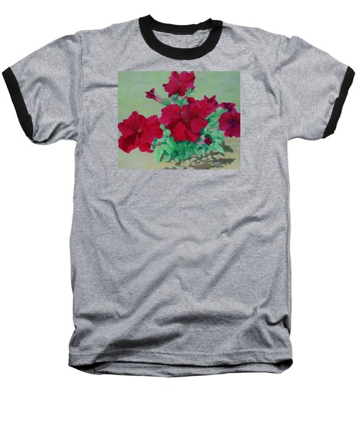 Red Flowers Art Brilliant Petunias Bright Floral  Baseball T-Shirt