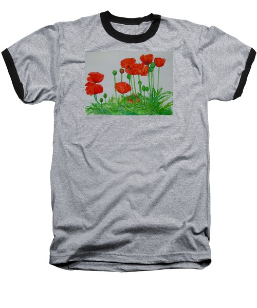 Red Poppies Colorful Flowers Original Art Painting Floral Garden Decor Artist K Joann Russell Baseball T-Shirt by Elizabeth Sawyer