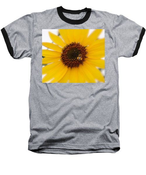 Baseball T-Shirt featuring the photograph Vibrant Bright Yellow Sunflower With Honey Bee  by Jerry Cowart