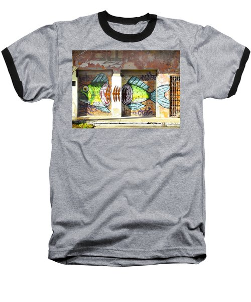 Brightly Colored Fish Mural Baseball T-Shirt by Anne Mott
