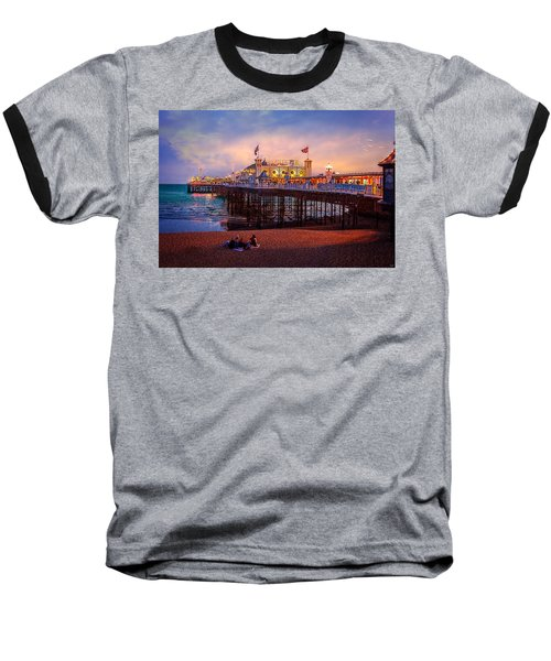 Baseball T-Shirt featuring the photograph Brighton's Palace Pier At Dusk by Chris Lord