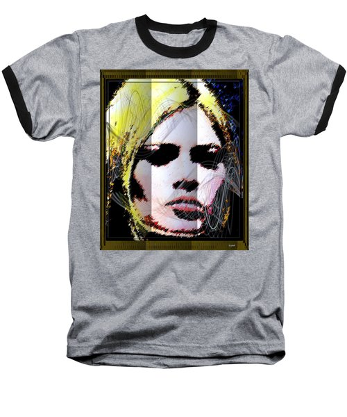 Baseball T-Shirt featuring the digital art Brigitte Bardot by Daniel Janda